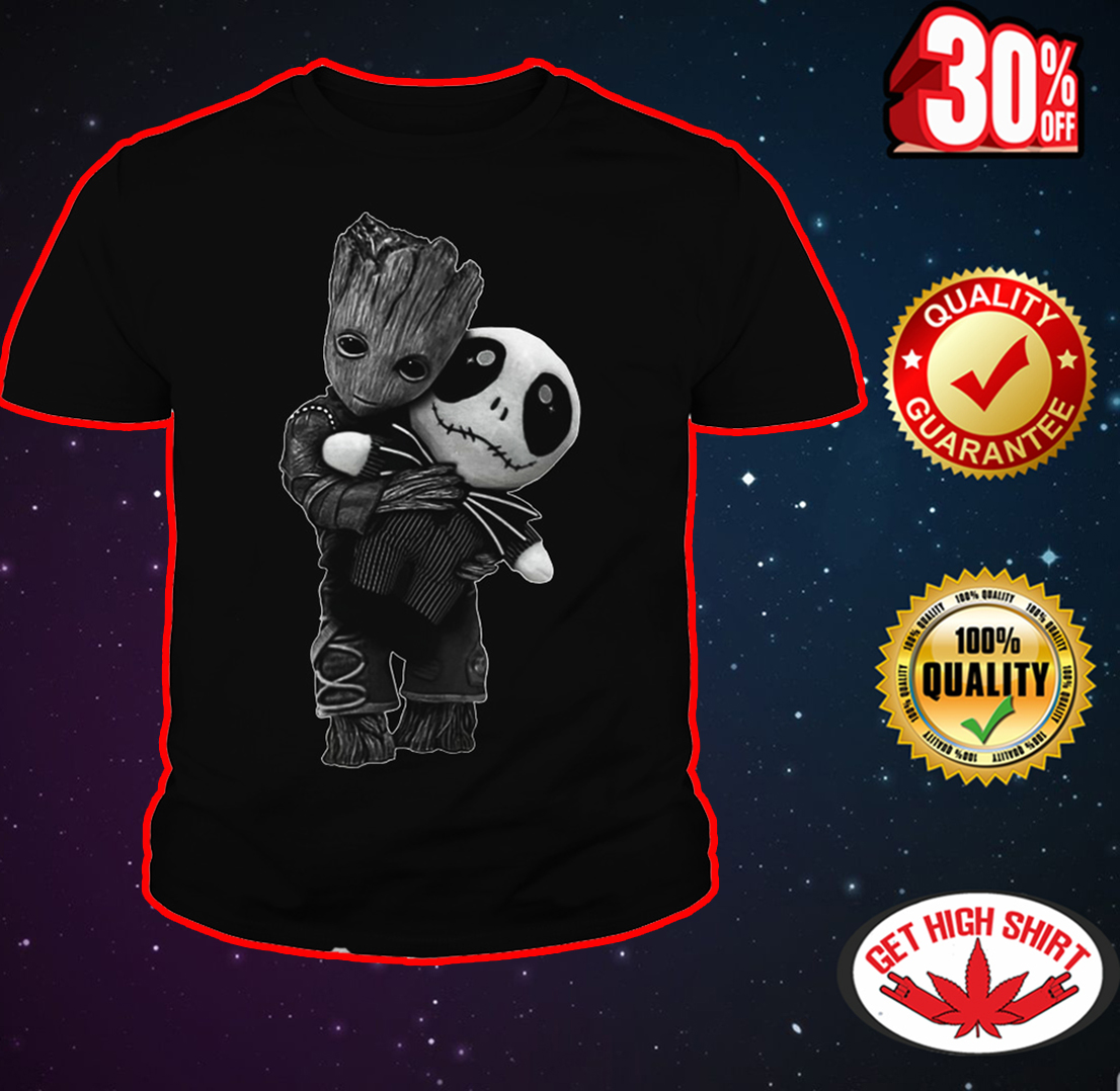 Baby Groot hug Jack Skellington youth tee