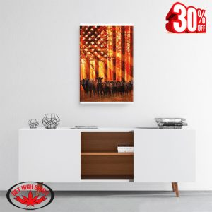 Cow American Flag Jungle Sunshine Canvas