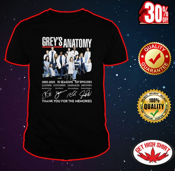 Grey's Anatomy thank you for the memories shirt