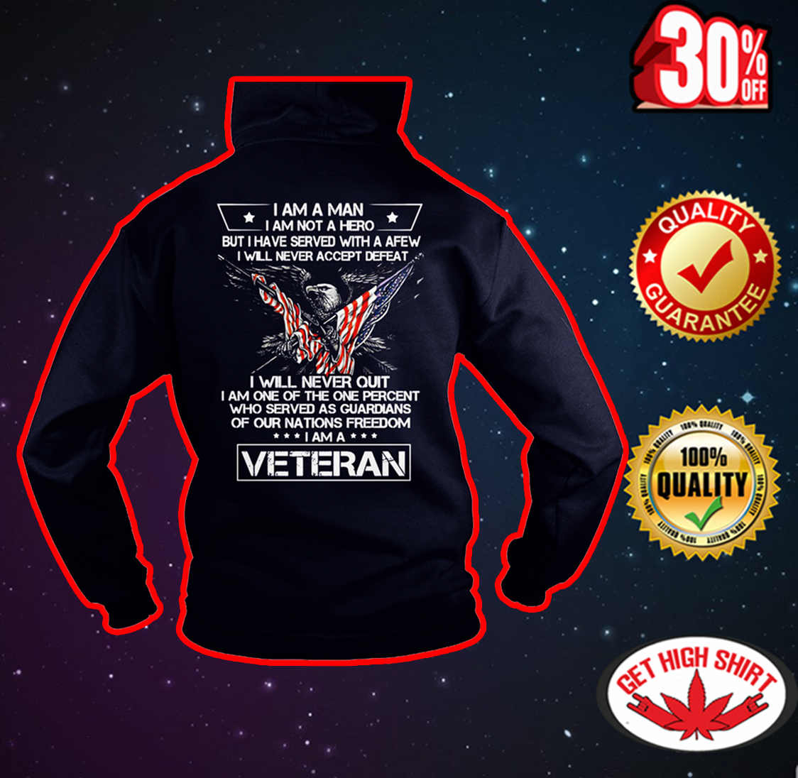I am a man I am not a hero I am a Veteran hoodie