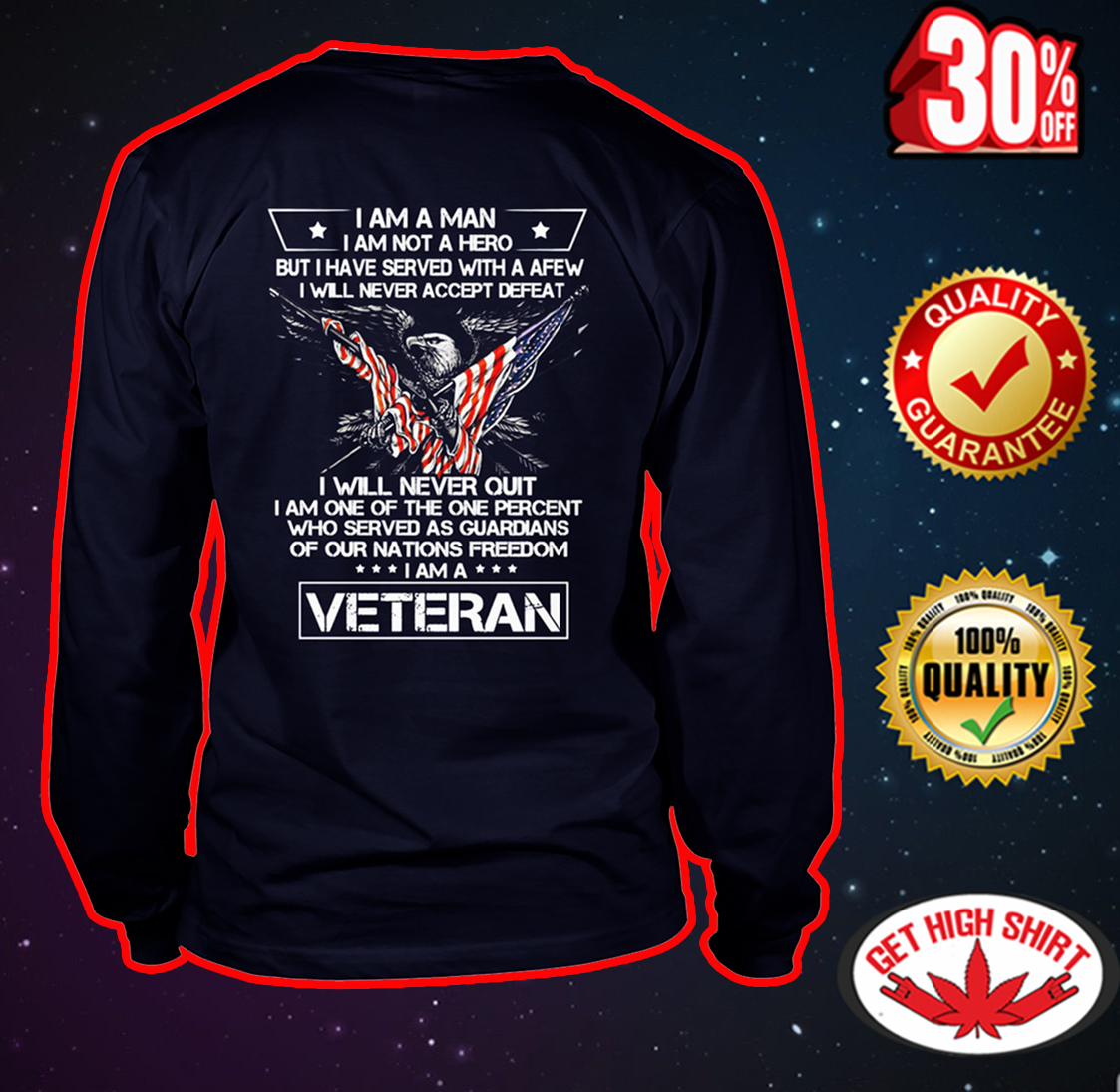 I am a man I am not a hero I am a Veteran long sleeve tee