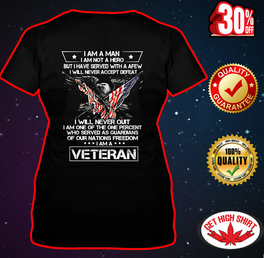 I am a man I am not a hero I am a Veteran v-neck