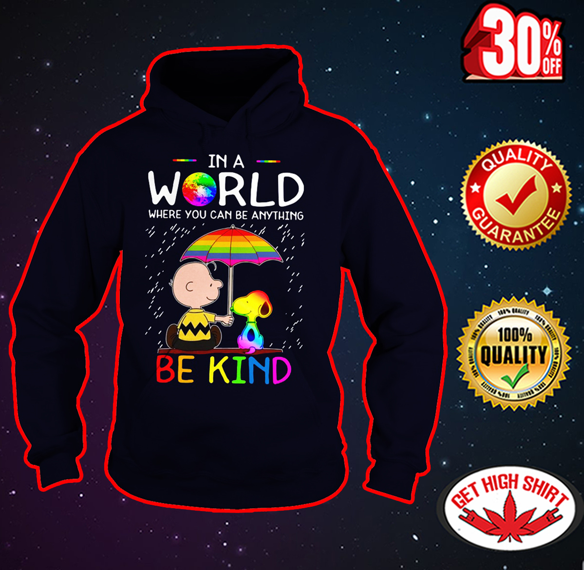 LGBT Charlie Brown and Snoopy In a world where you can be anything be kind hoodie