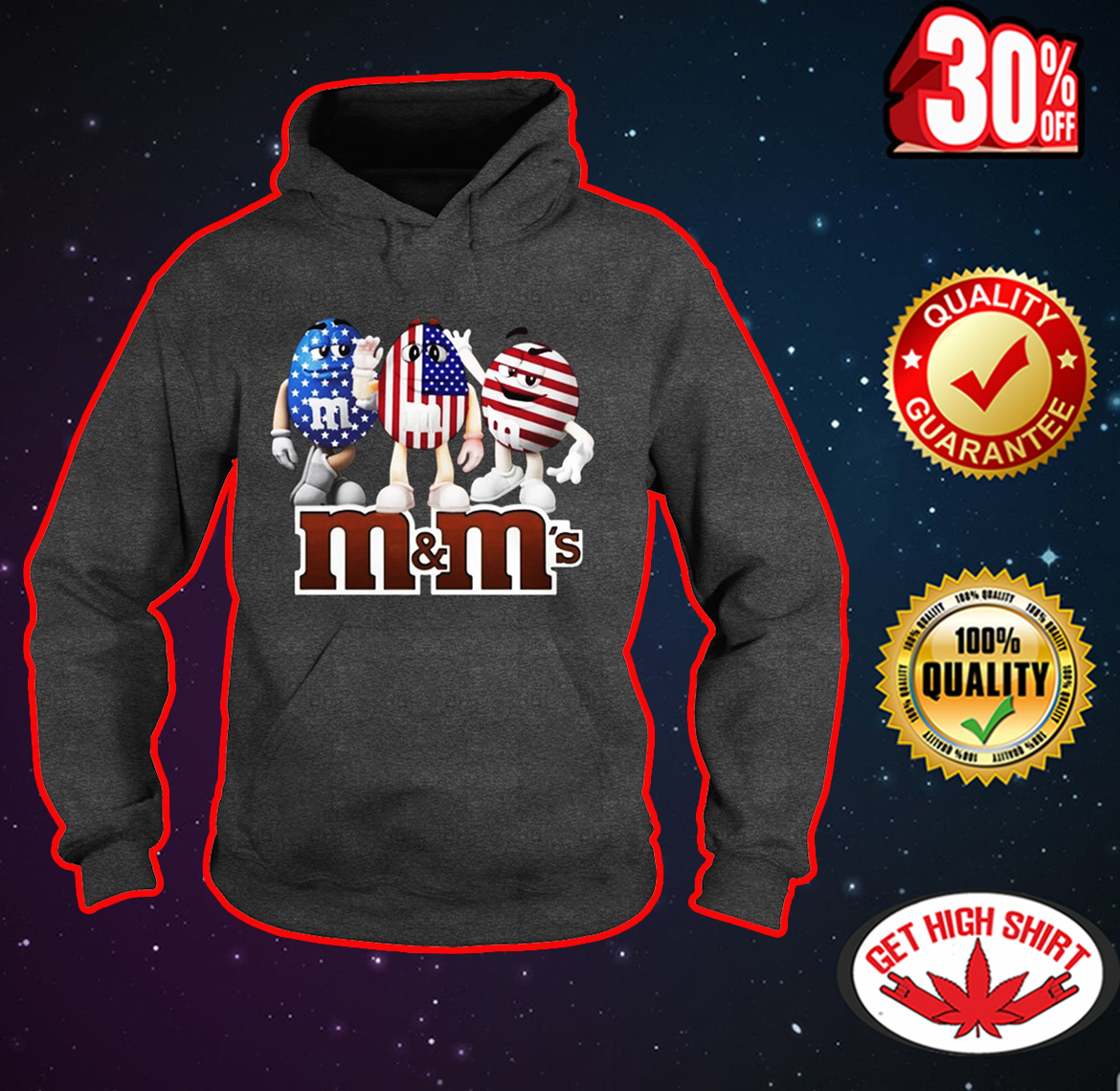 M&M's American Flag 4th of July hoodie