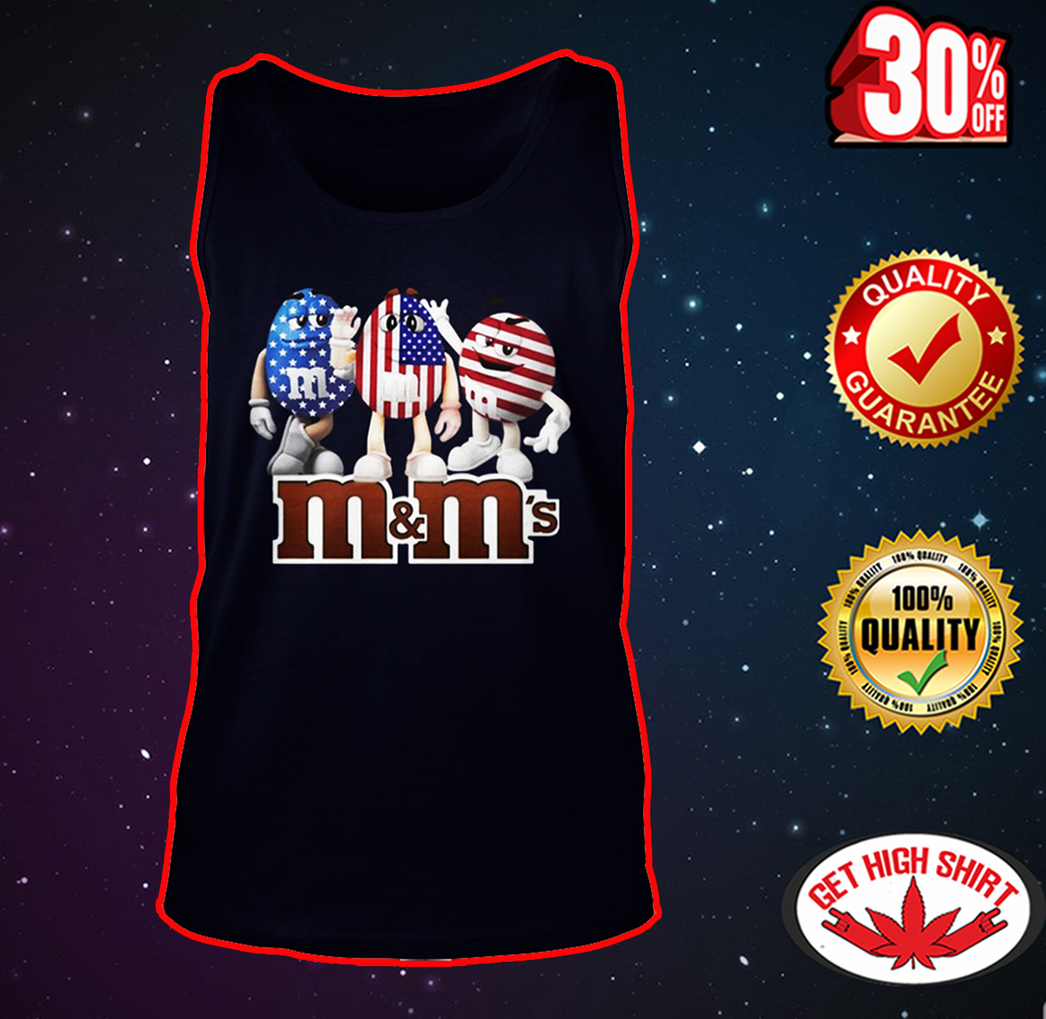M&M's American Flag 4th of July tank top