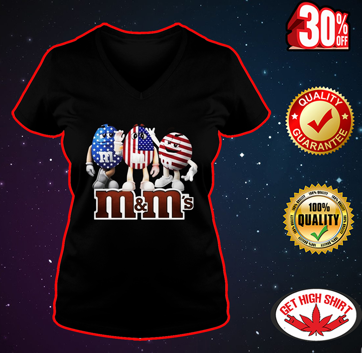 M&M's American Flag 4th of July v-neck