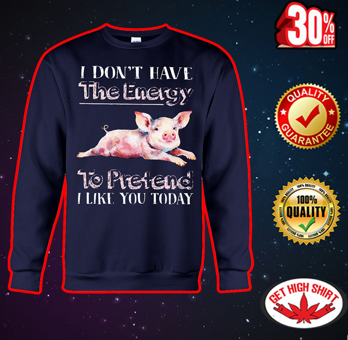 Pig I don't have the energy to pretend I like you today sweatshirt