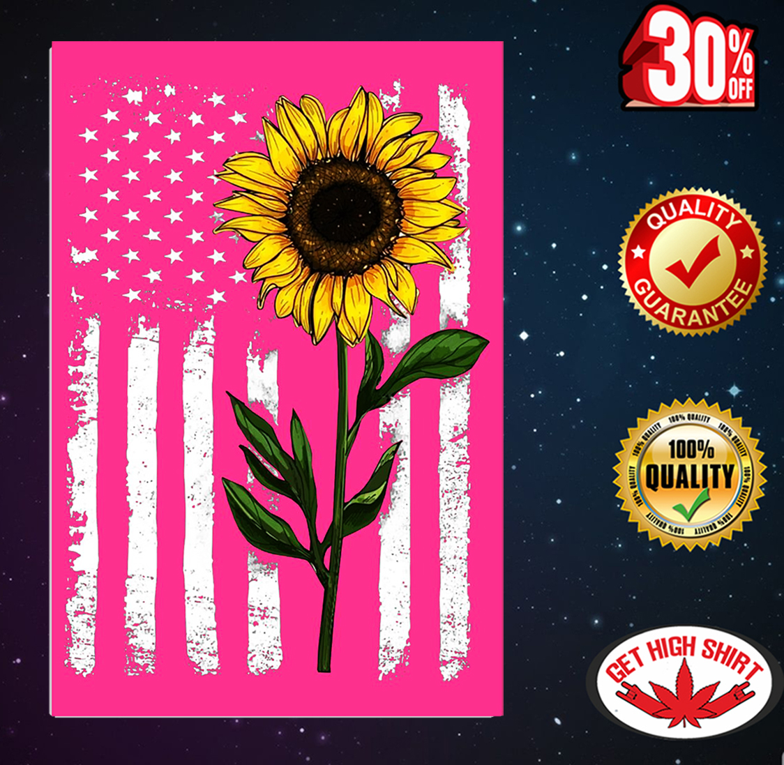 Sunflower American flag 4th of July poster