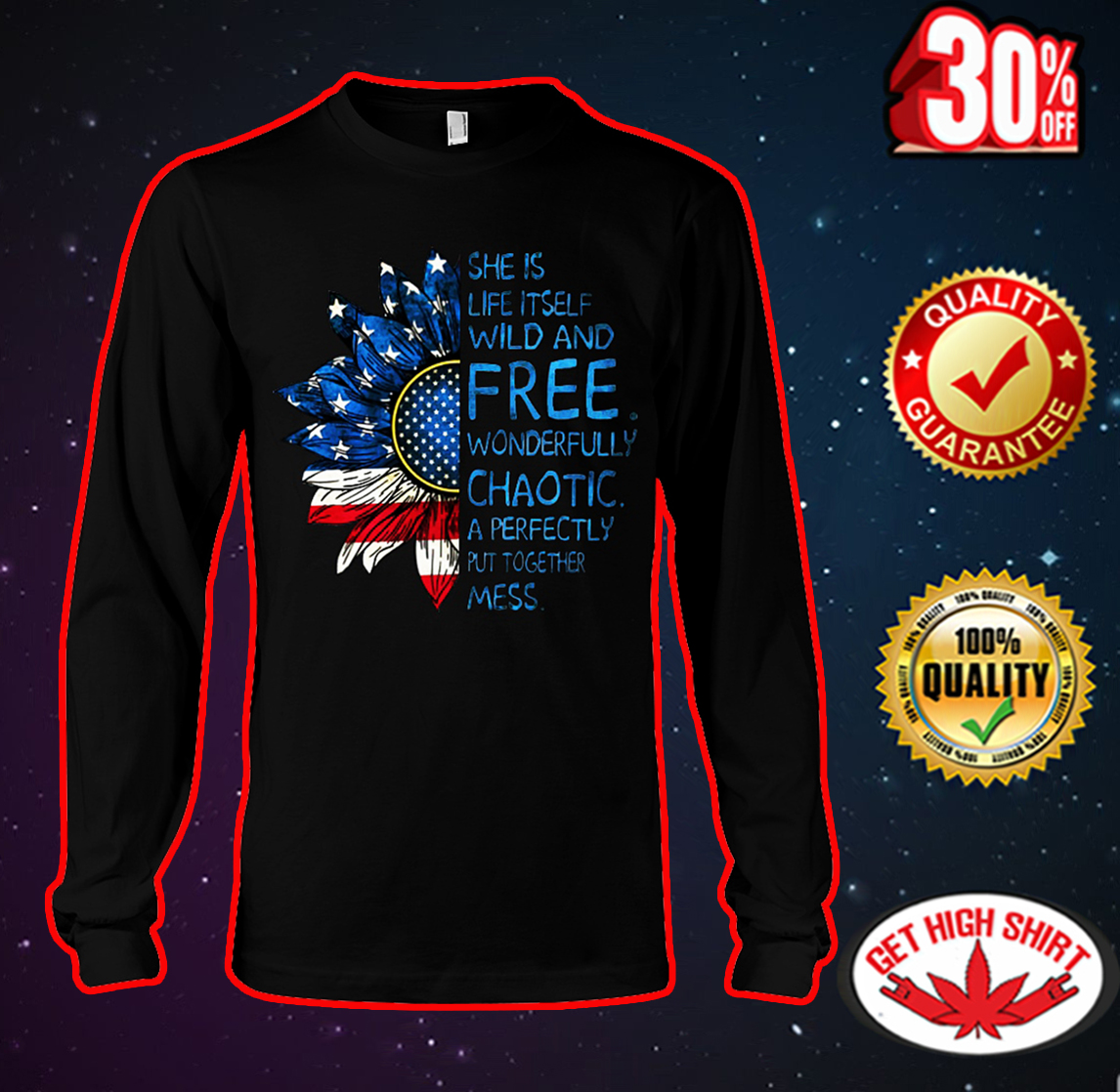 Sunflower American flag She is life itself wild and free long sleeve tee