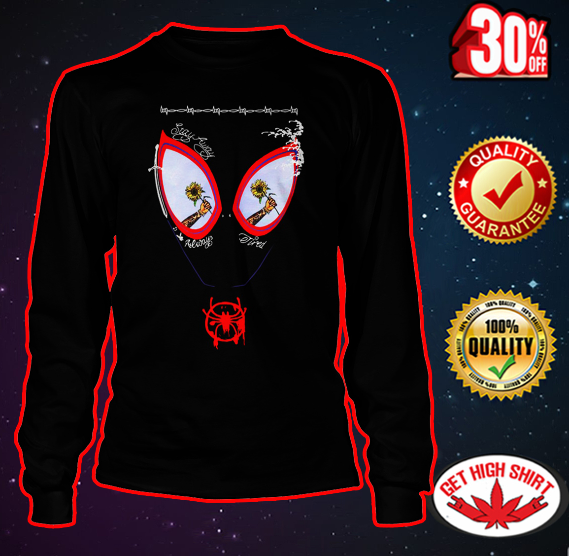 Sunflower Post Malone Spider-Man face long sleeve tee