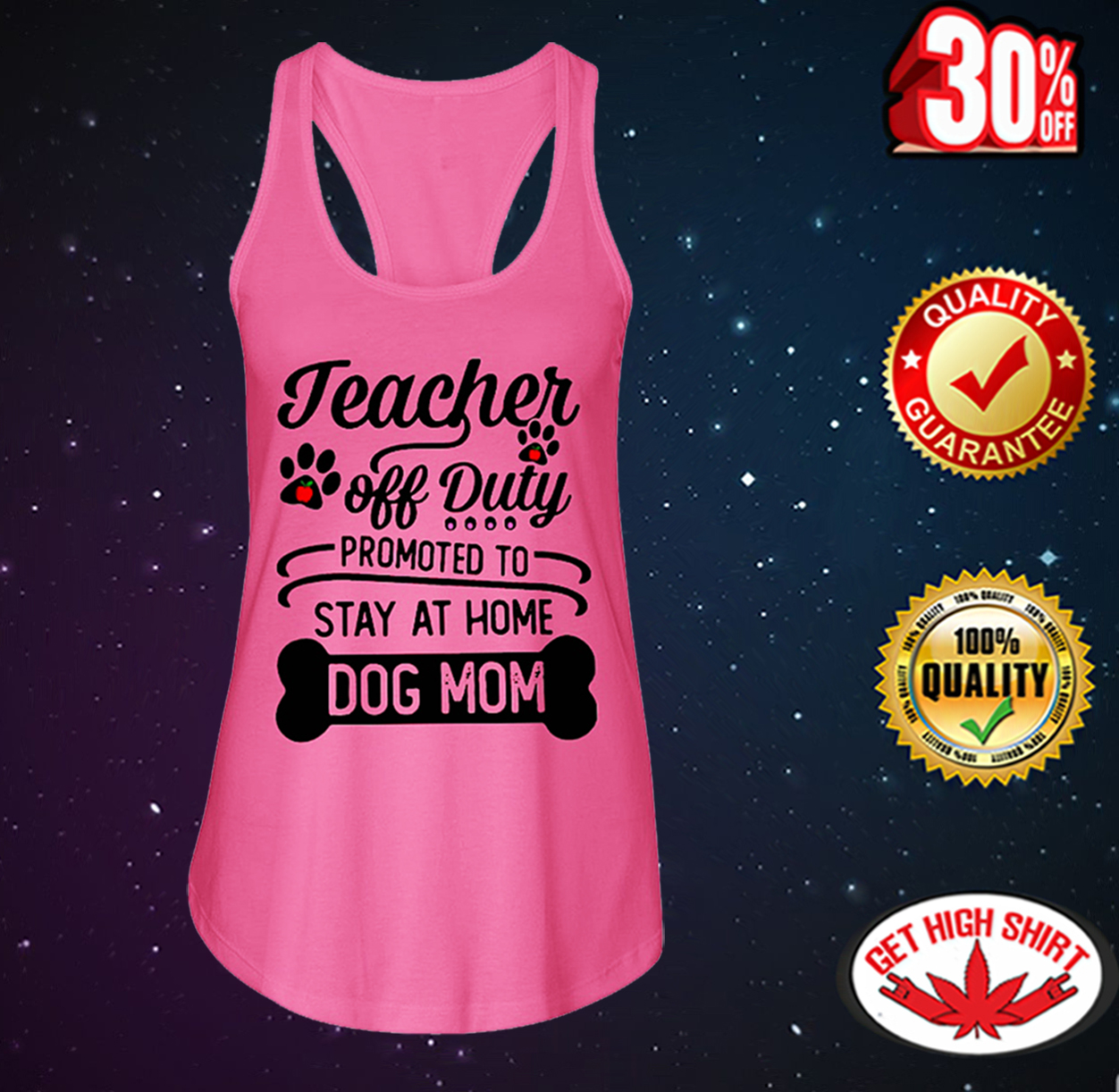 Teacher off duty promoted to stay at home dog mom flowy tank