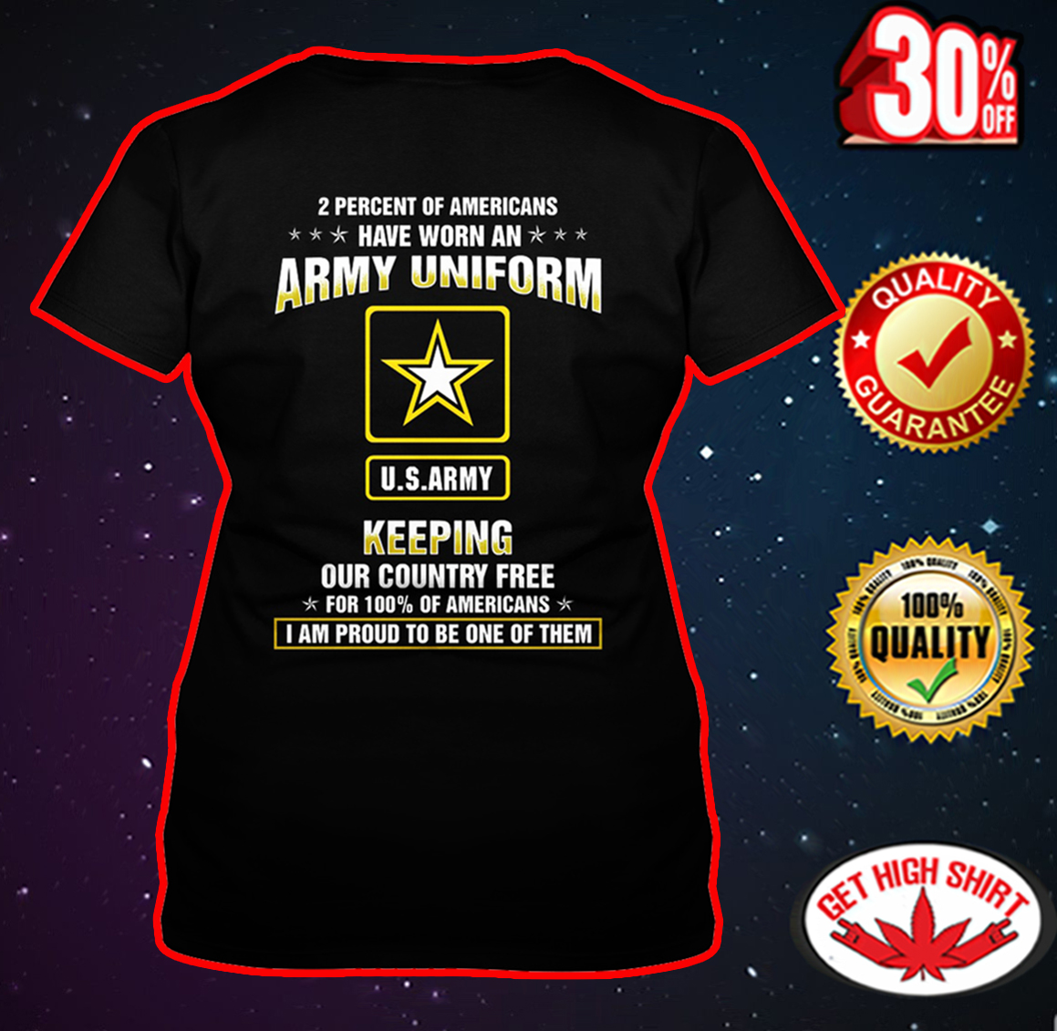 US Army 2 Percent of Americans have worn an Army uniform v-neck