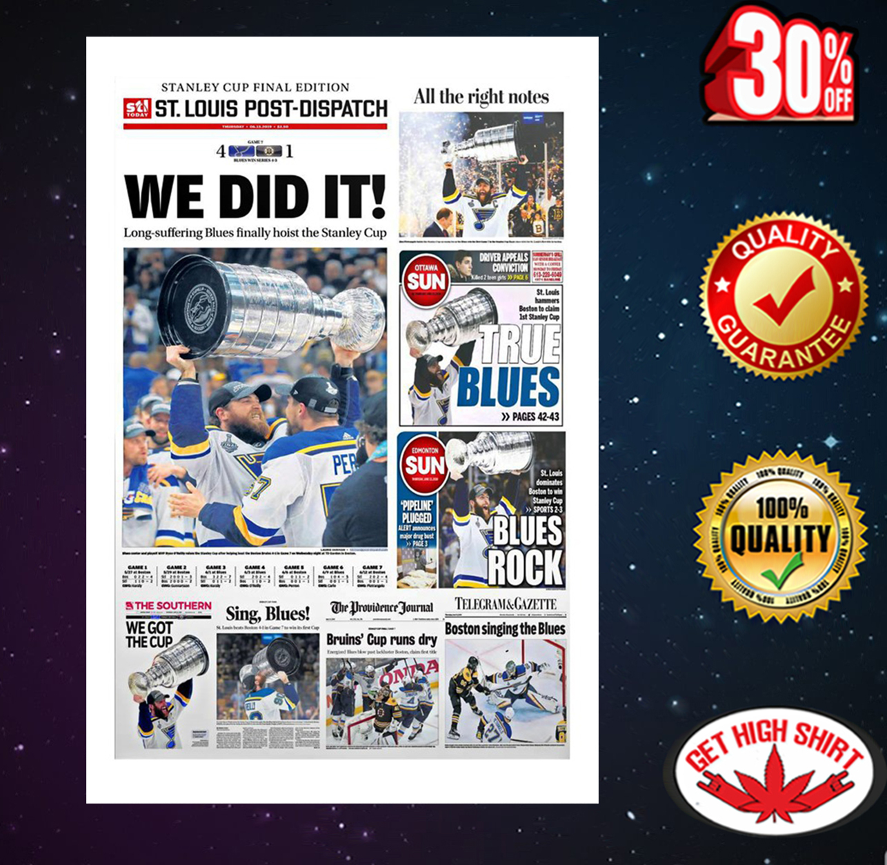 We did it Stanley Cup Final Edition St. Louis Post-Dispatch poster 16x24