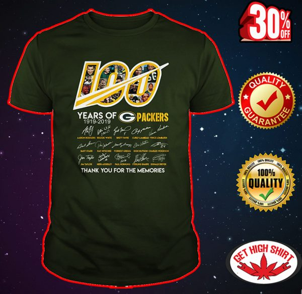 100 year of Packers thank you for memories shirt