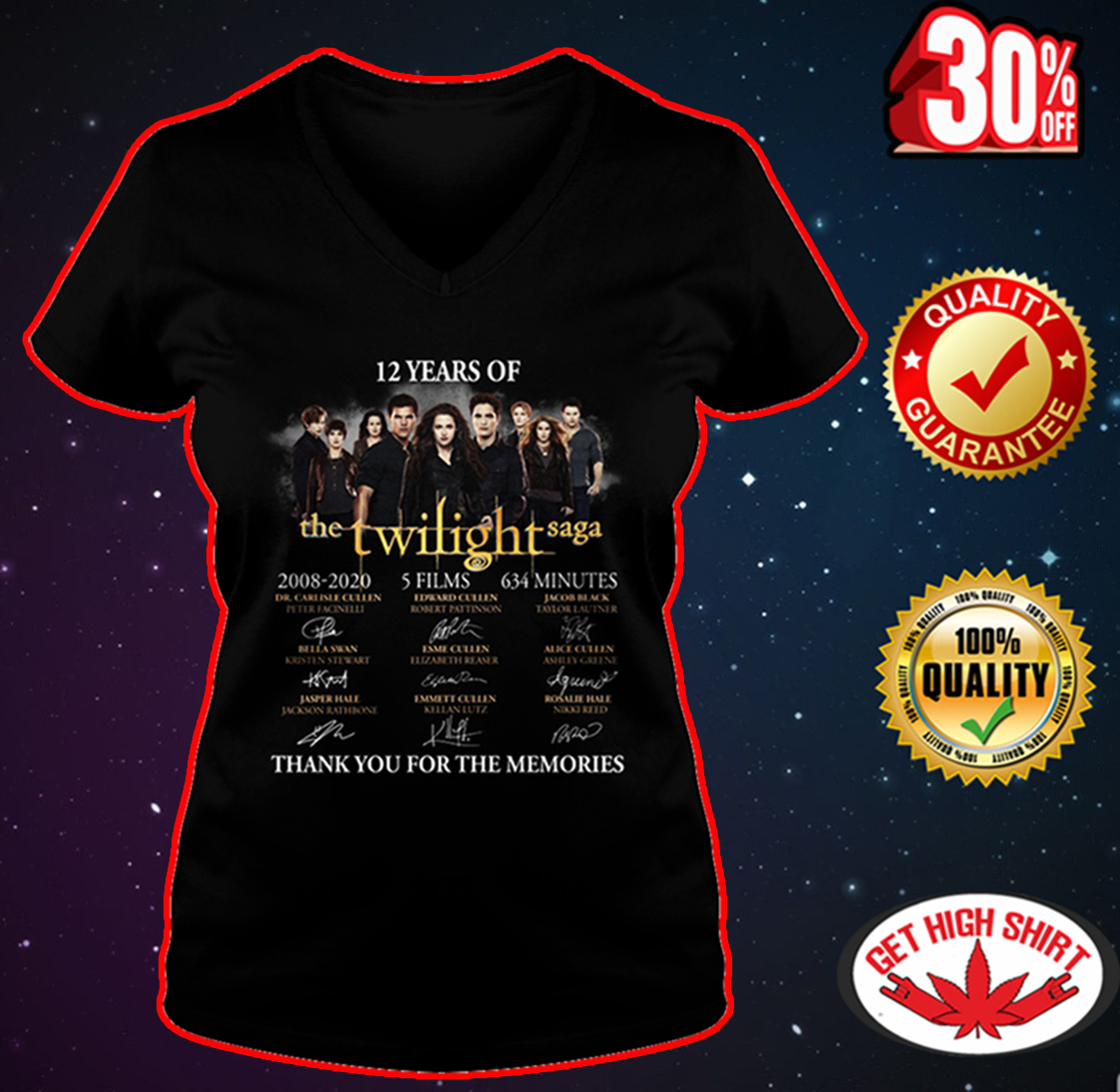 12 Years of The Twilight Saga Thank You for The Memories v-neck