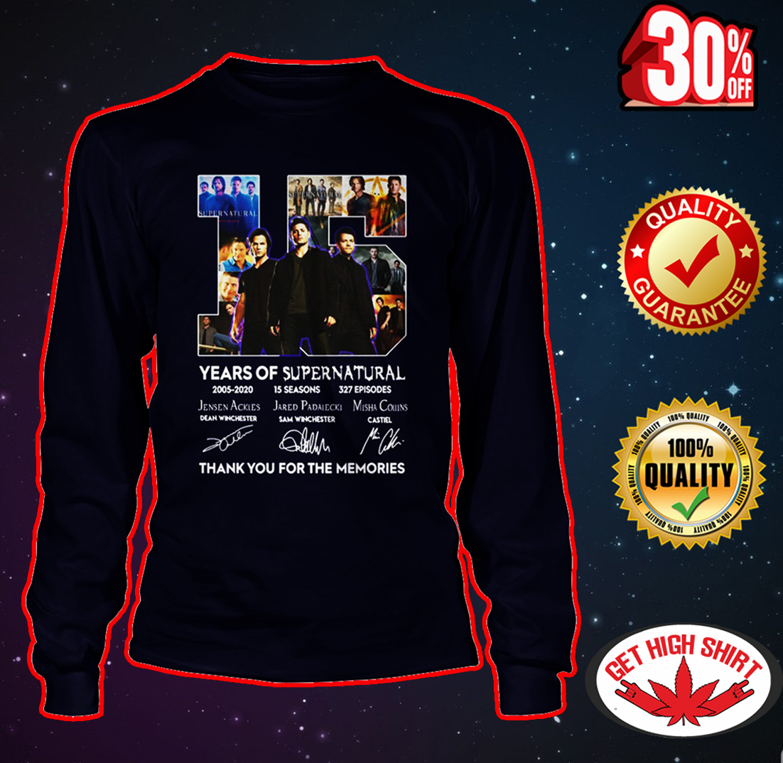15 years of Supernatural thank you for the memories long sleeve tee