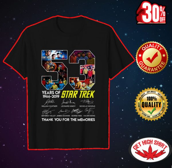 53 years of Star Trex thank you for the memories shirt