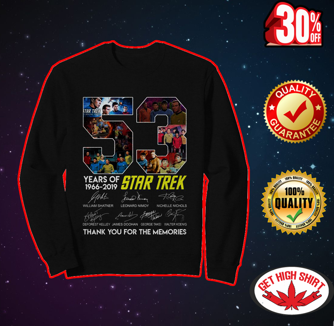 53 years of Star Trex thank you for the memories sweatshirt