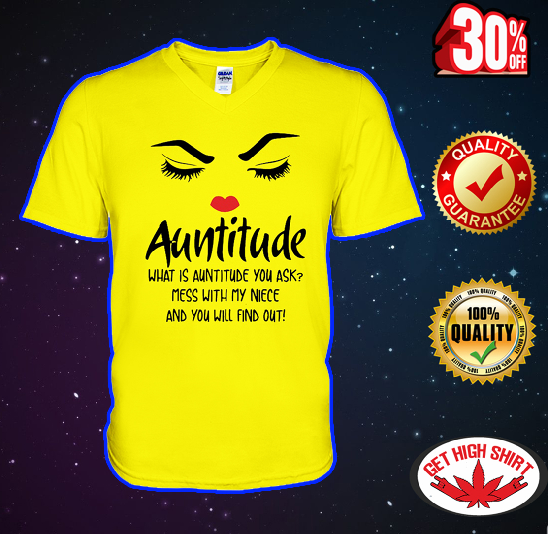 Auntitude what is auntitude you ask v-neck