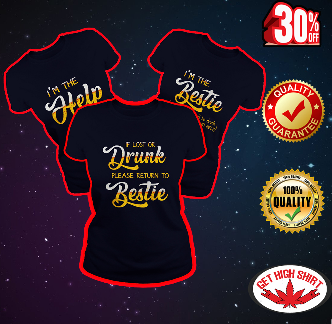 Beer If lost or drunk please return to bestie - I'm the help - I'm the bestie navy shirt