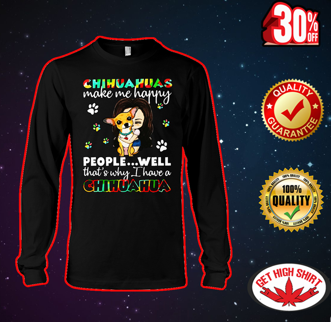 Chihuahuas make me happy people well that's why I have a Chihuahua long sleeve tee