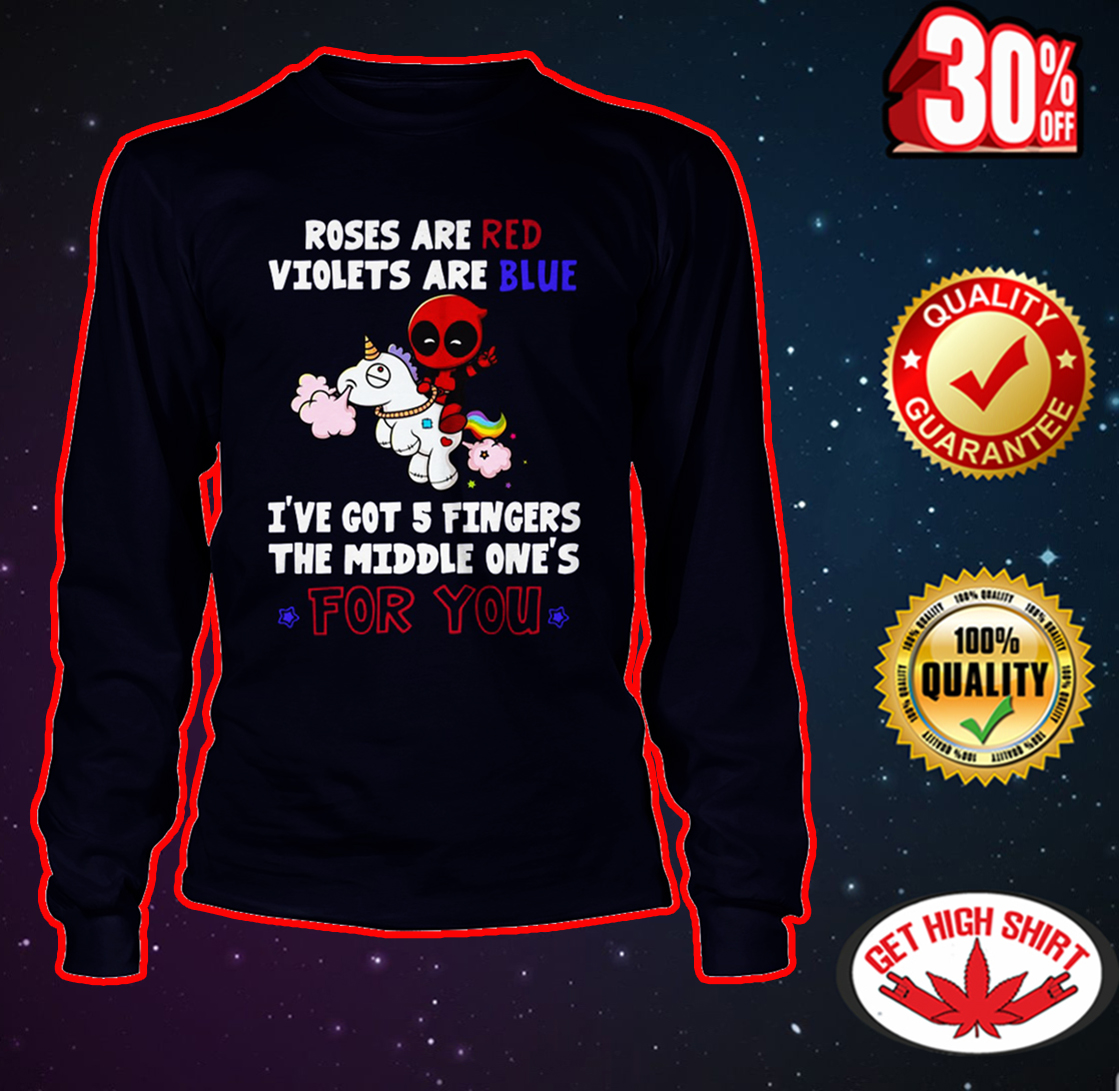 Deadpool riding unicorn Roses are red violets are blue long sleeve tee