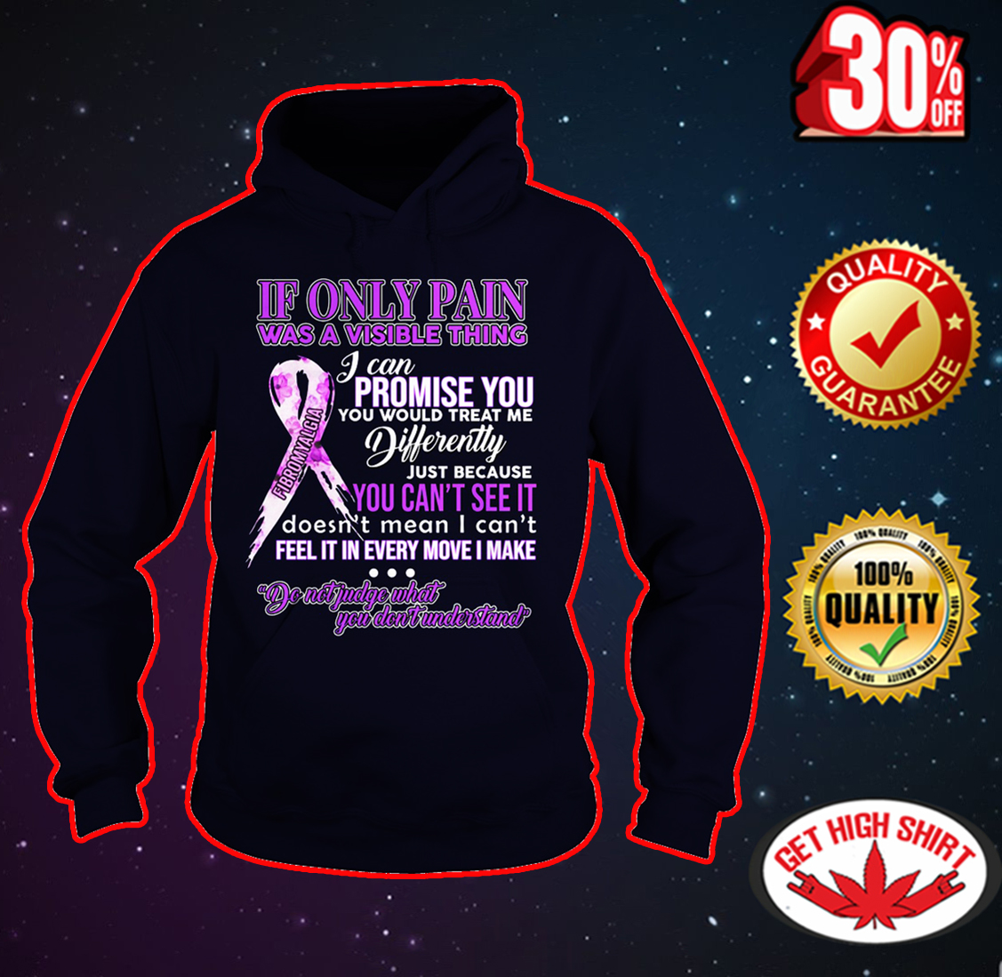 Fibromyalgia If only pain was a visible thing hoodie