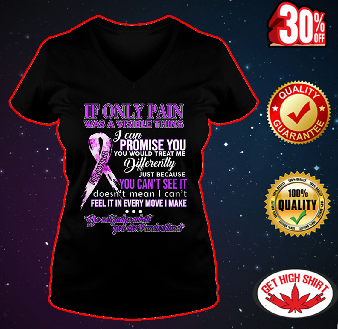 Fibromyalgia If only pain was a visible thing v-neck