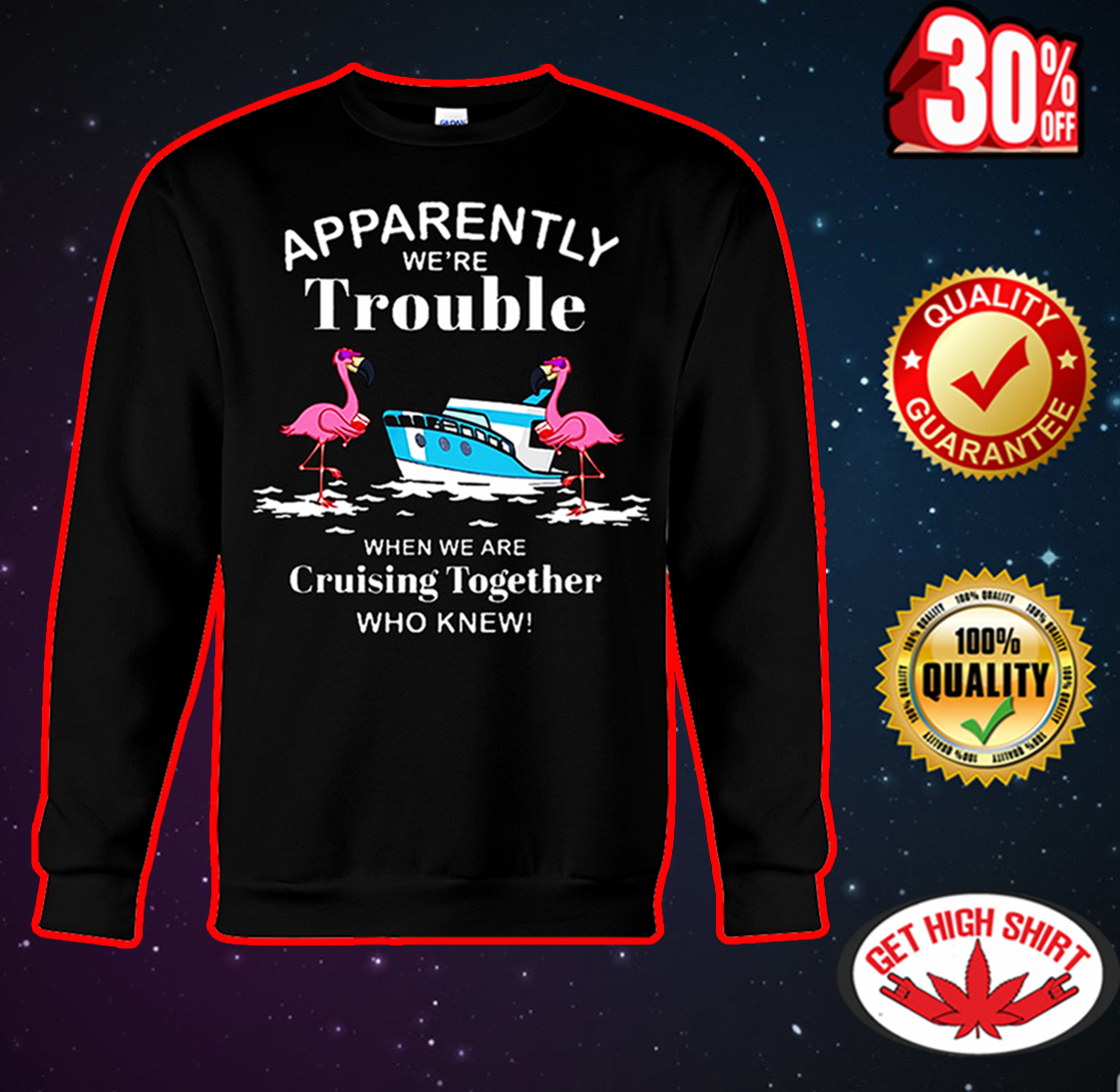 Flamingo Apparently we're trouble when we are cruising together who knew sweatshirt