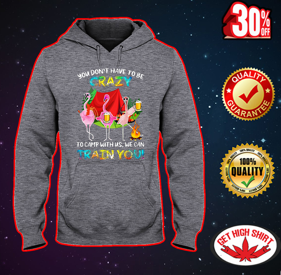 Flamingo you don't have to be crazy to camp with us we can train you hooded sweatshirt