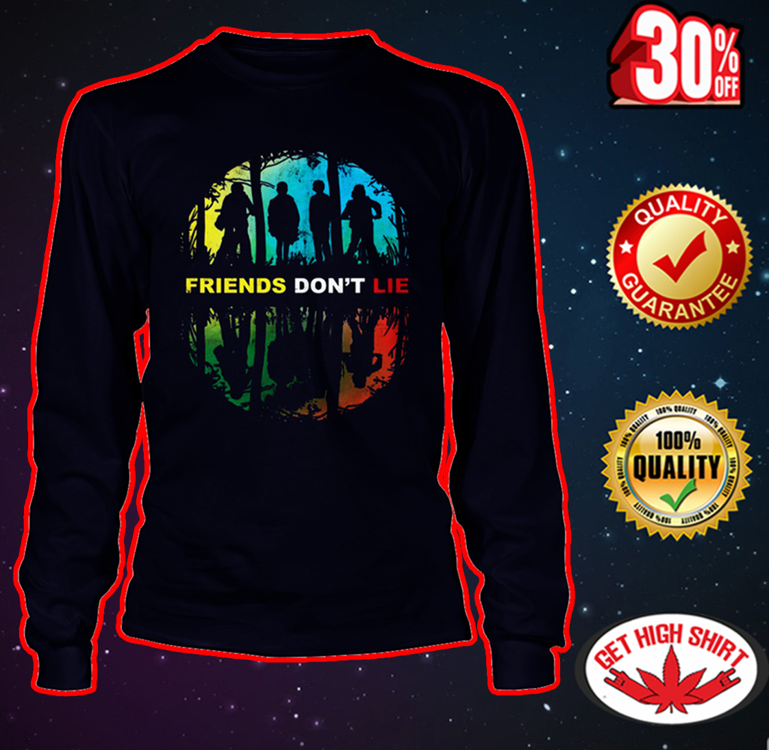 Friends Don't Lie Stranger Things long sleeve tee