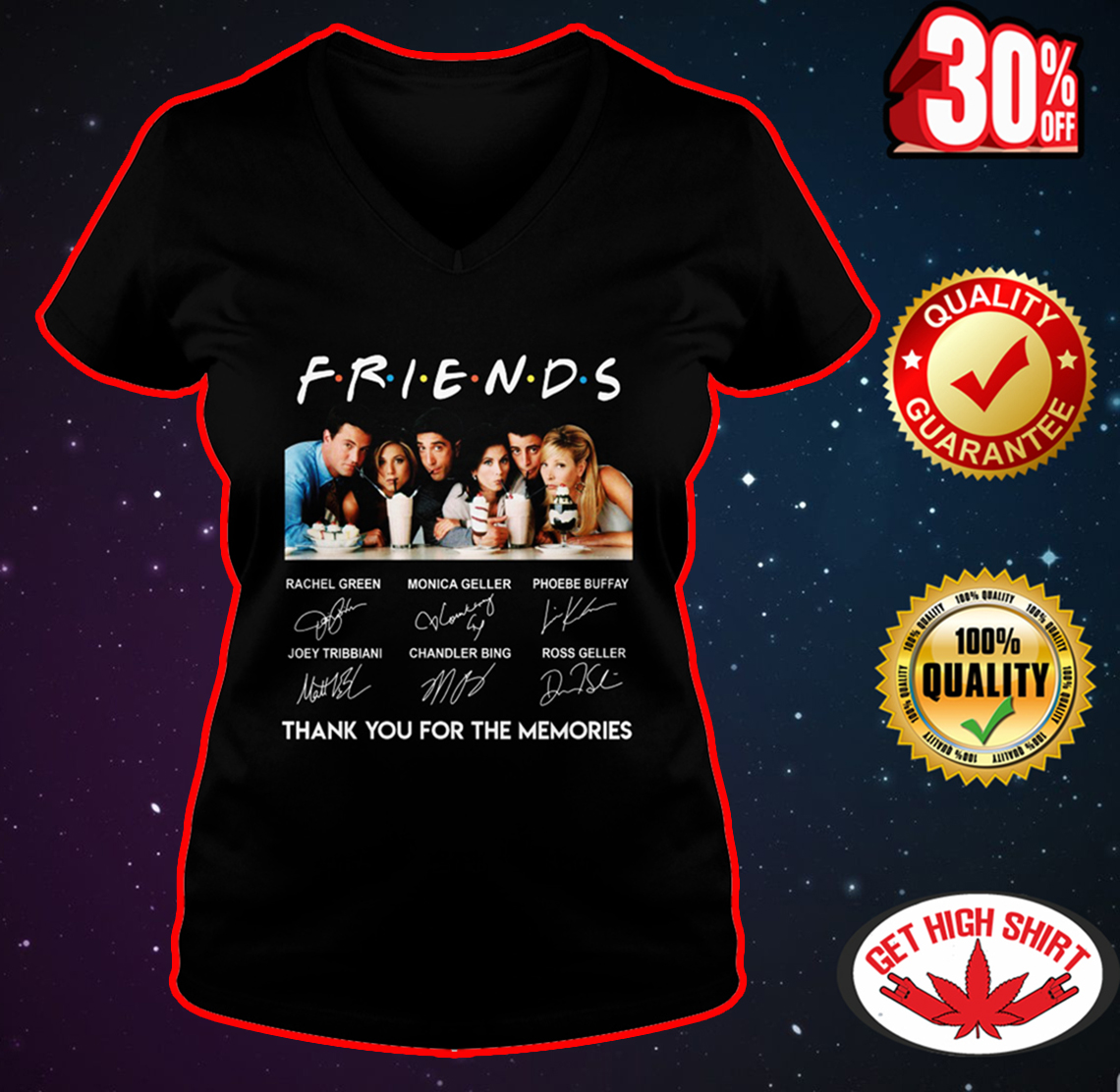 Friends thank you for the memories all actors signature v-neck