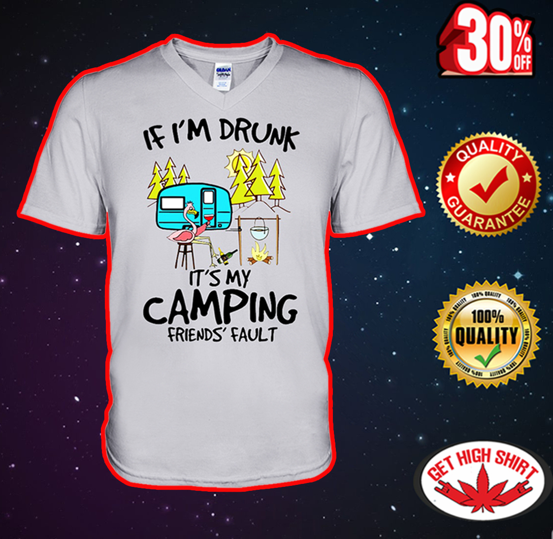 If I'm drunk it's my camping friends' fault Flamingo v-neck