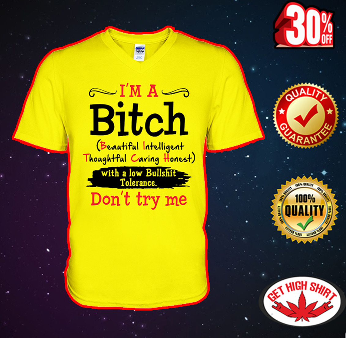 I'm a Bitch beautiful intelligent thoughful caring honest v-neck