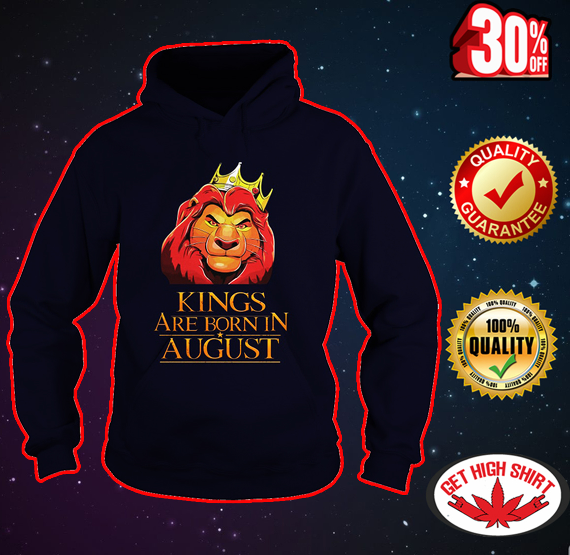 Lion king kings are born in august hoodie