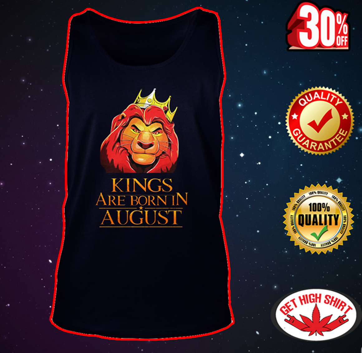 Lion king kings are born in august tank top