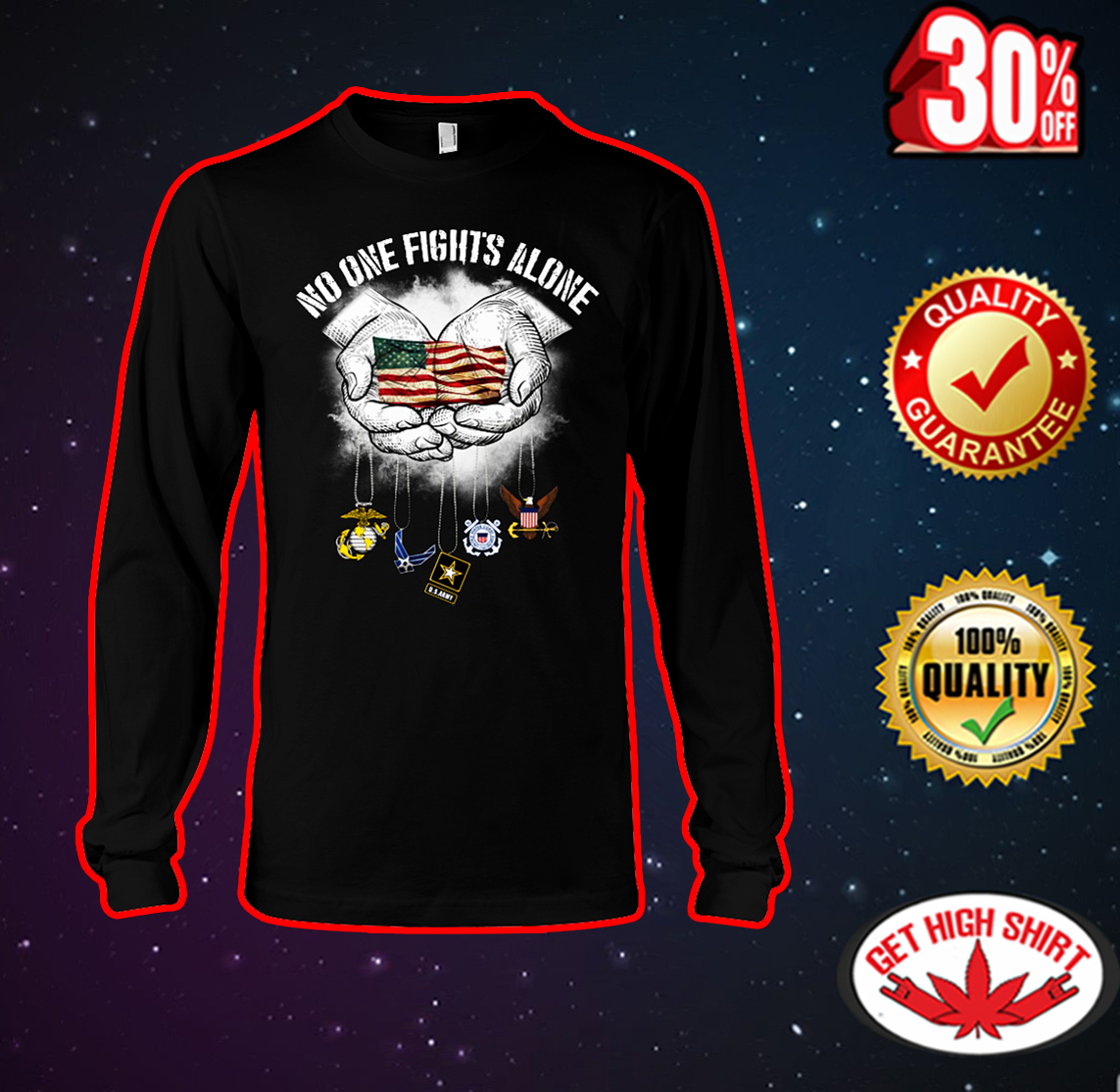 No one fights alone American flag long sleeve tee
