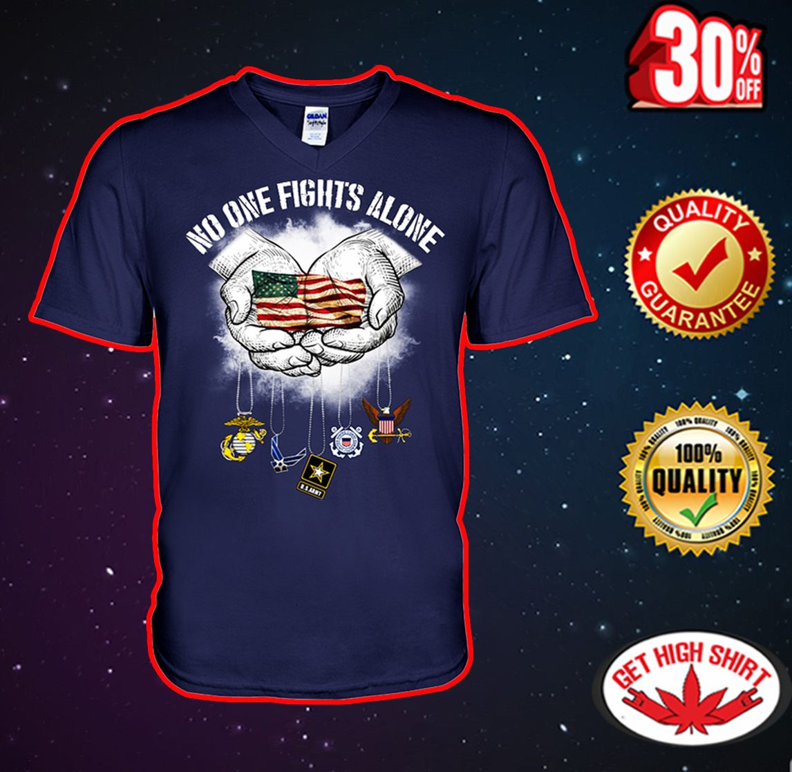 No one fights alone American flag v-neck