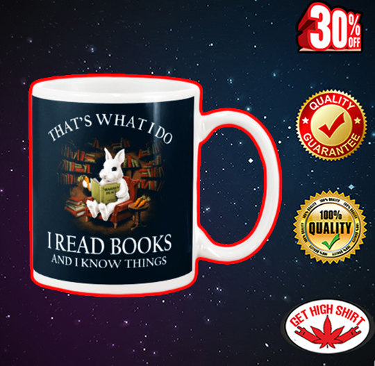 Rabbit that what I do I read book and I know things mug - navy