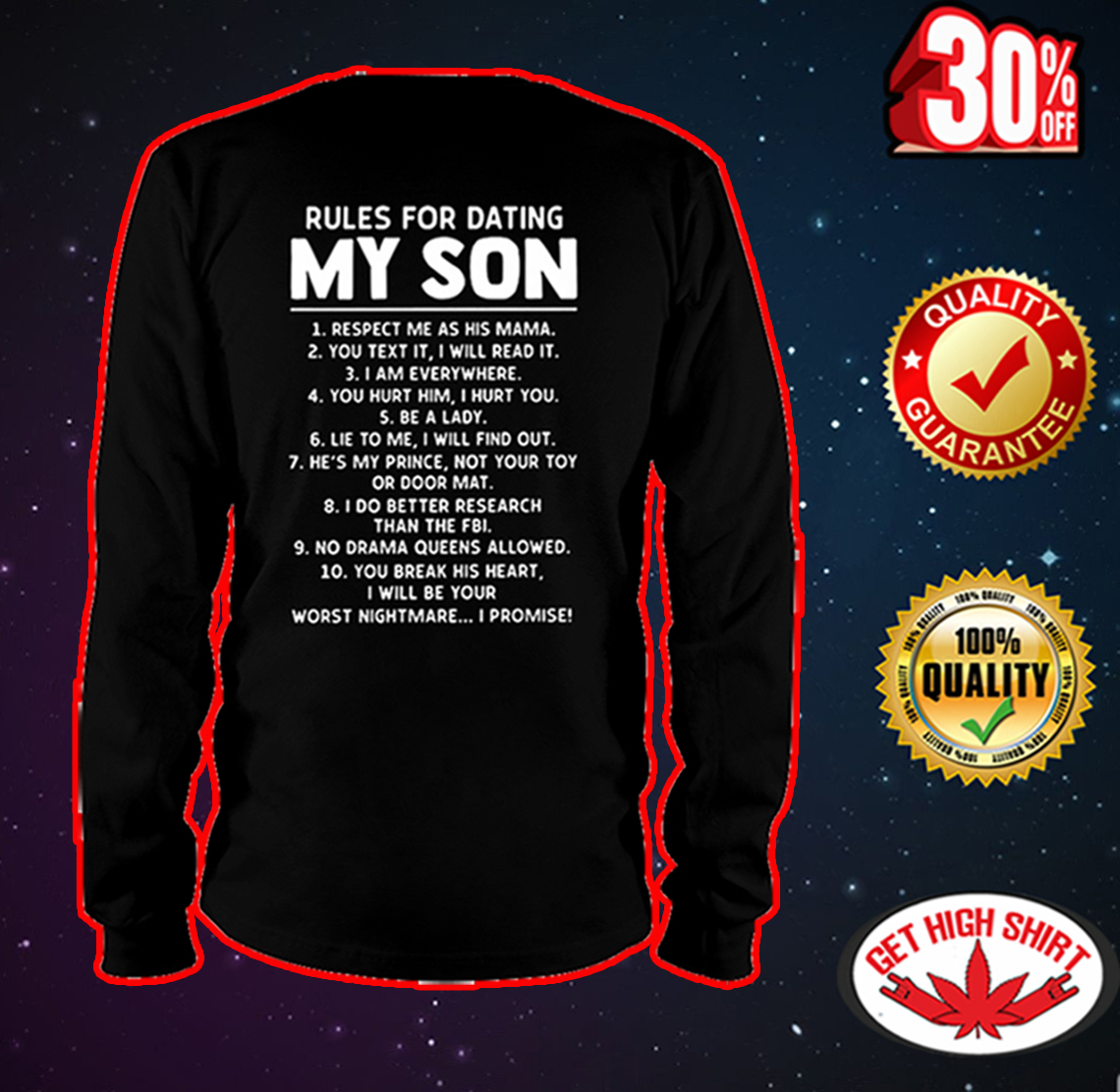 Rules for dating my son long sleeve tee
