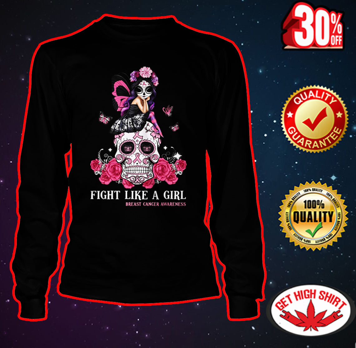 Skull fight like a girl breast cancer awareness long sleeve tee
