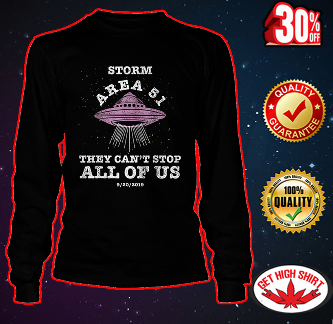 Storm area 51 they can't stop all of us long sleeve tee