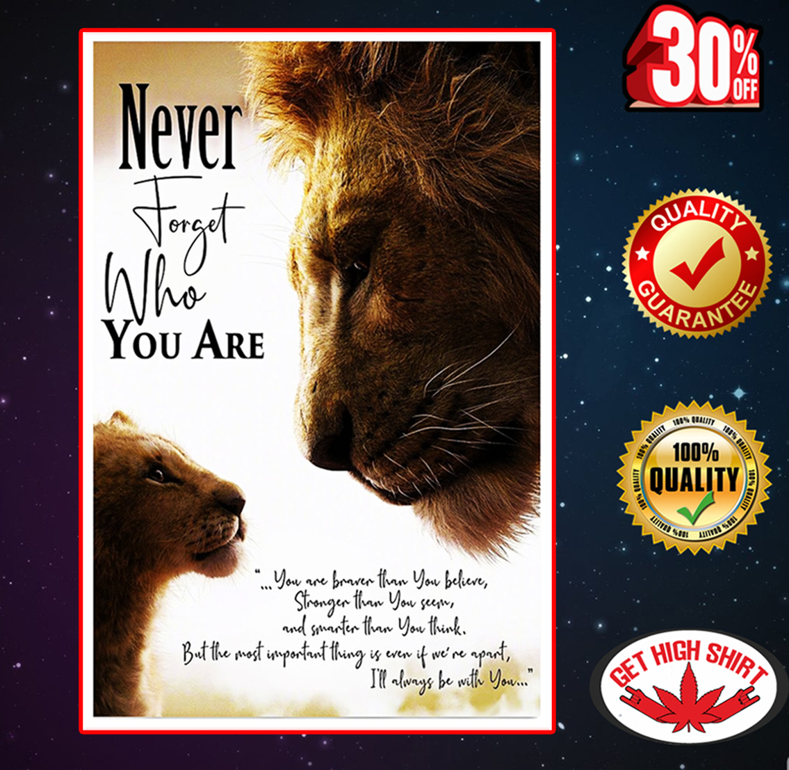 The Lion King never forget who you are poster 11x17