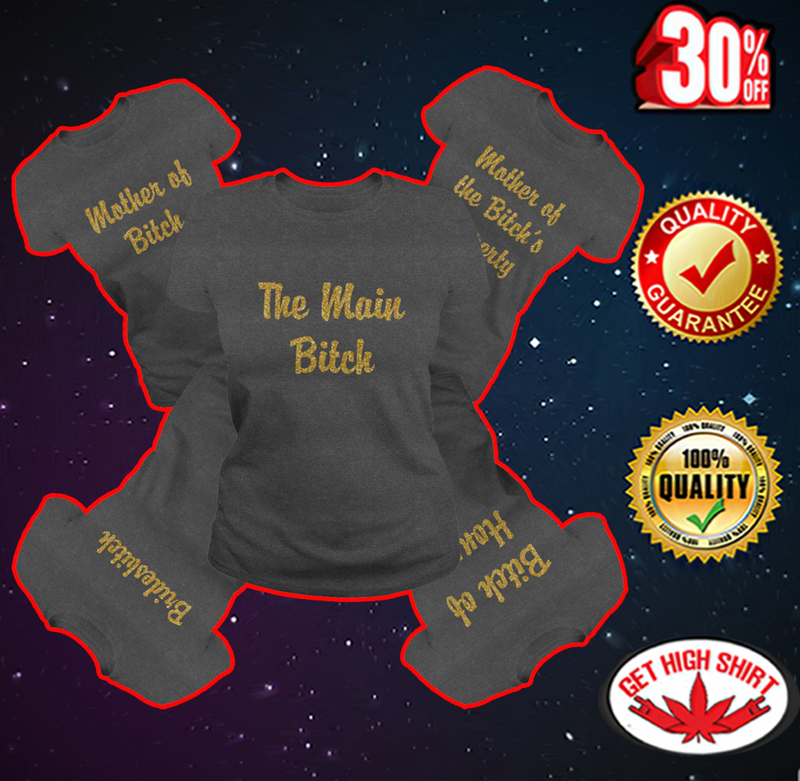 The main bitch - Bridesbitch - Bitch of Honor - Mother of Bitch - Mother of the Bitch's Property darkgrey shirt