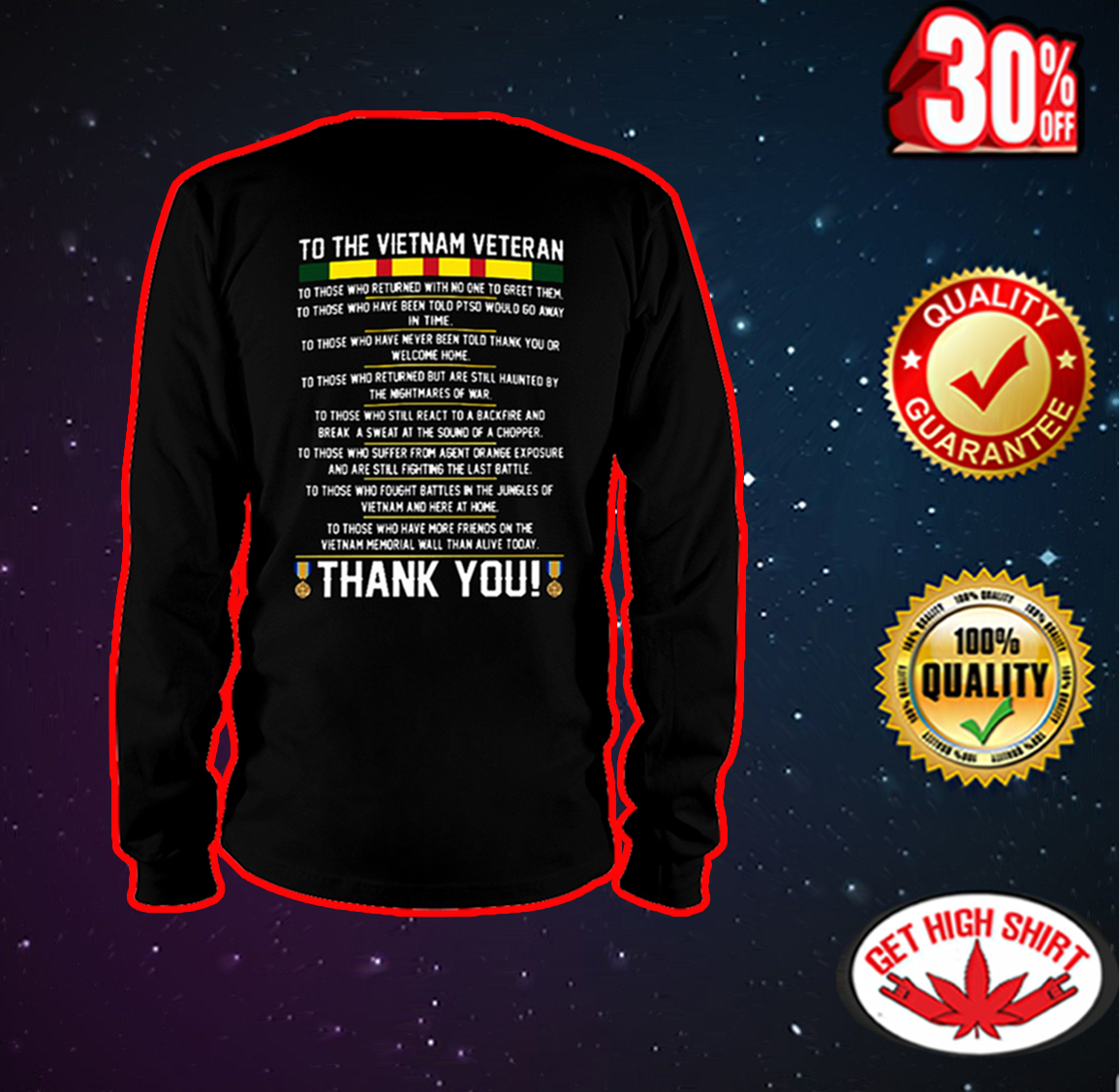 To the Vietnam veteran thank you long sleeve tee