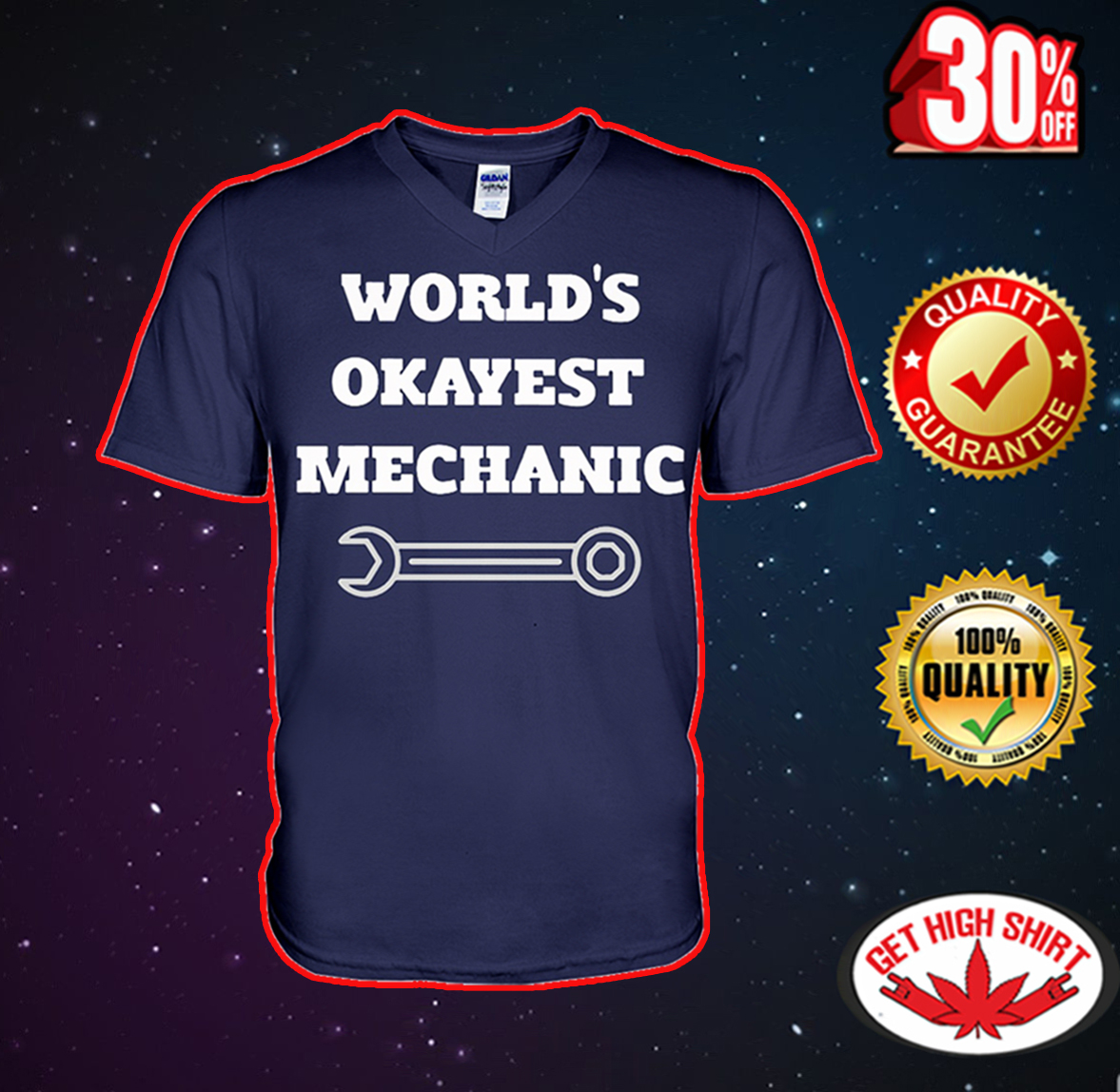 World's okayest mechanic v-neck