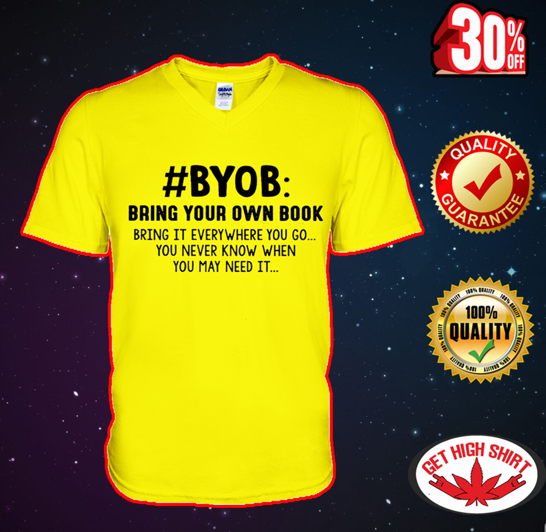 #BYOB bring your own book v-neck
