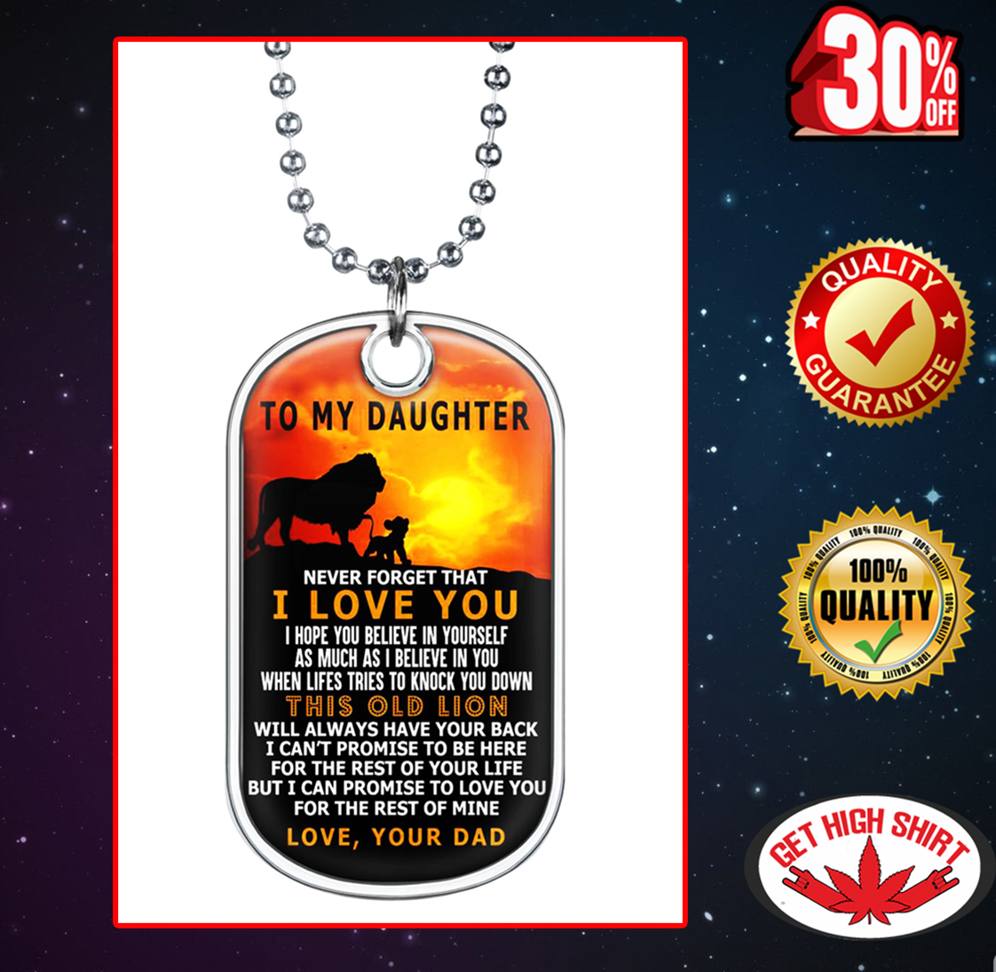 The Lion King To my daughter love your dad Dog Tag - Premium Dog Tag