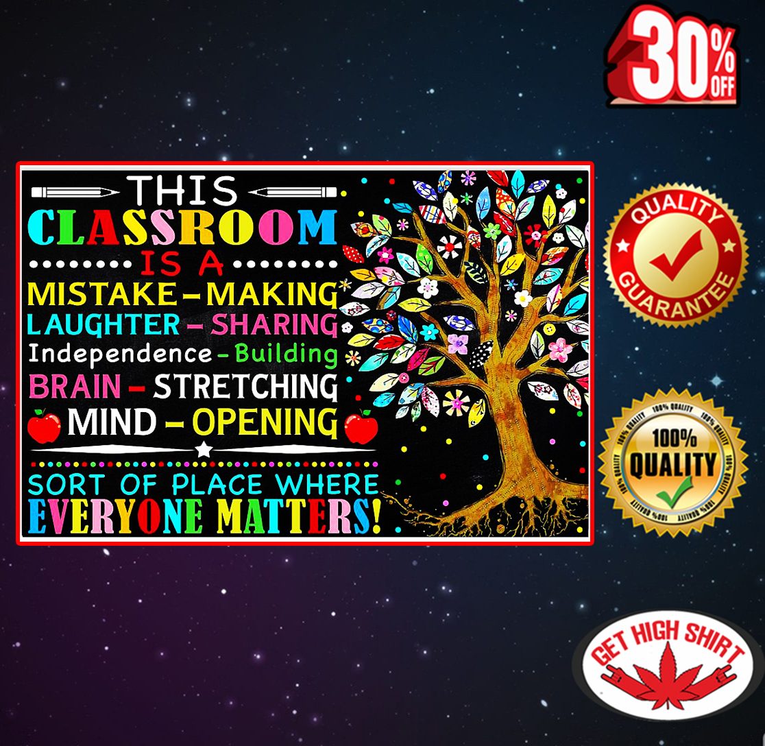 This classroom is a mistake making poster 17x11
