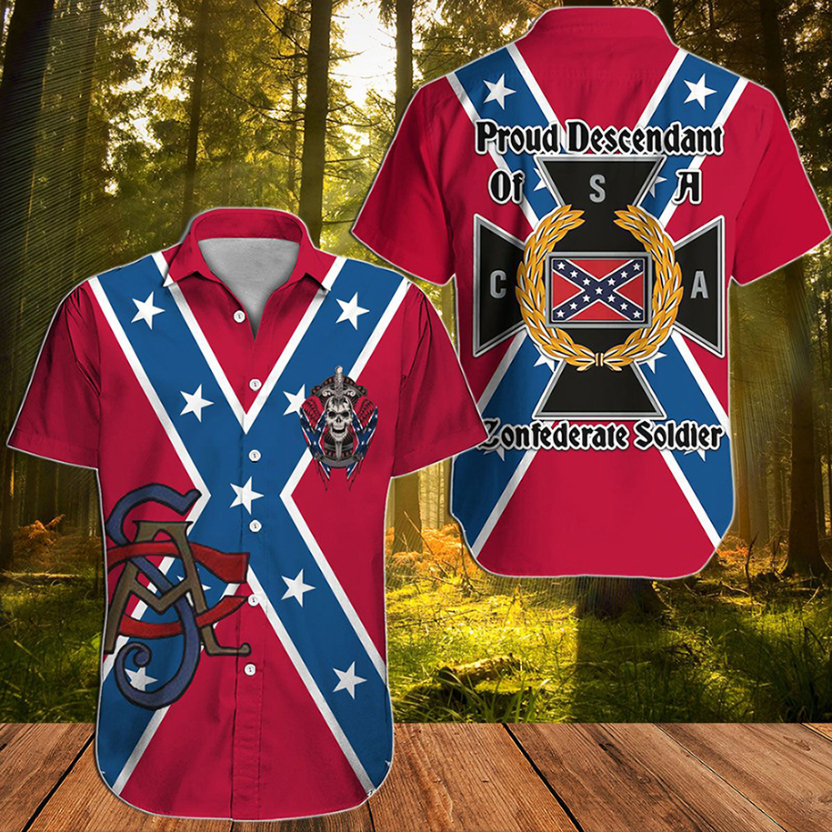 Southern Confederate Flag Proud descendant of a confederate soldier hawaiian shirt - Picture 3